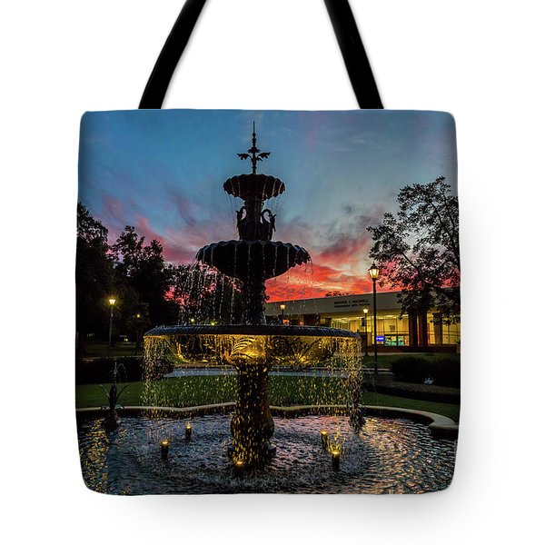 Augusta University Fountain Sunset Ga Tote Bag