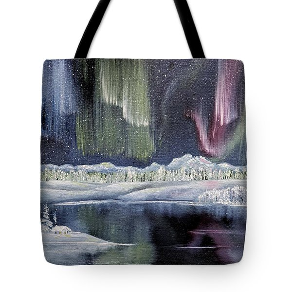 Tote Bag featuring the painting Aurora Borealis by Deleas Kilgore