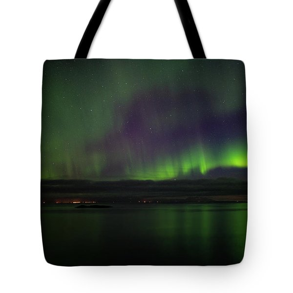 Aurora Borealis Reflecting At The Sea Surface Tote Bag