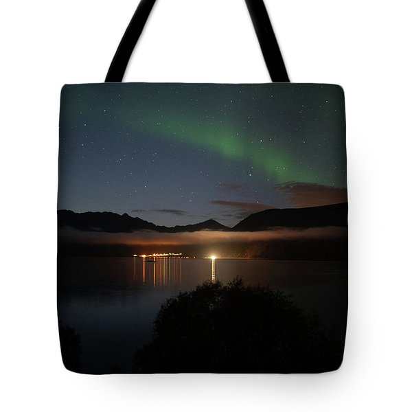 Aurora Northern Polar Light In Night Sky Over Northern Norway Tote Bag