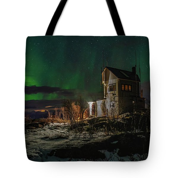 Aurora Over The Radio Station Tote Bag