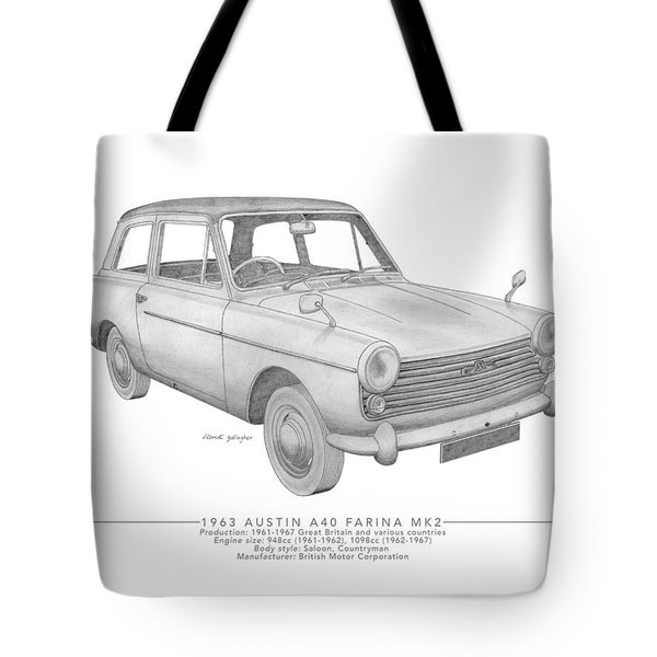 Austin A40 Farina Saloon Tote Bag