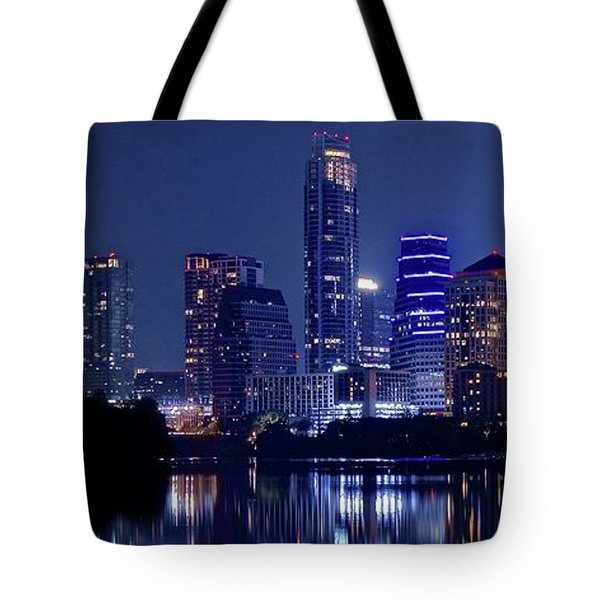 Austin At Lady Bird Lake With Moon Tote Bag