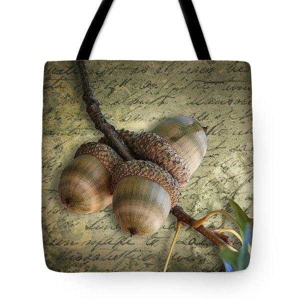 Tote Bag featuring the mixed media Autumn Acorns On Vintage Postcard Digital Art by Debi Dalio