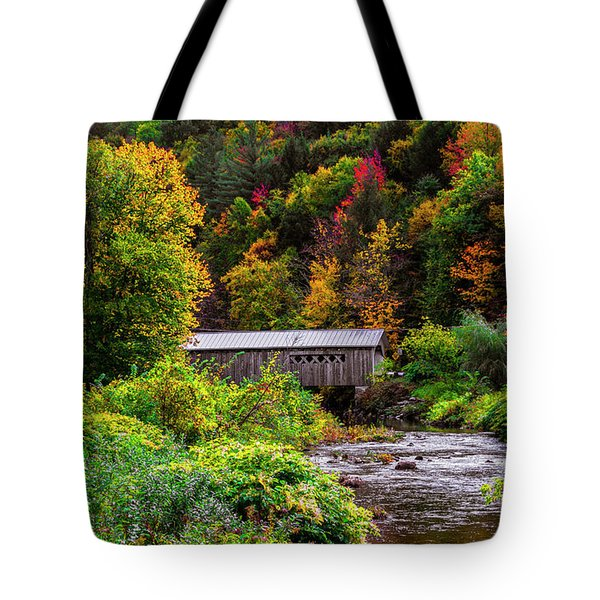 Autumn At The Comstock Covered Bridge Tote Bag
