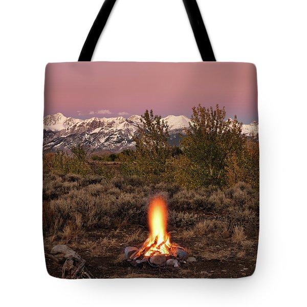 Tote Bag featuring the photograph Autumn Camp Fire by Leland D Howard