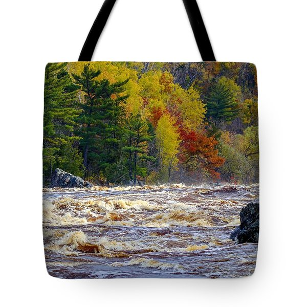 Autumn Colors And Rushing Rapids   Tote Bag