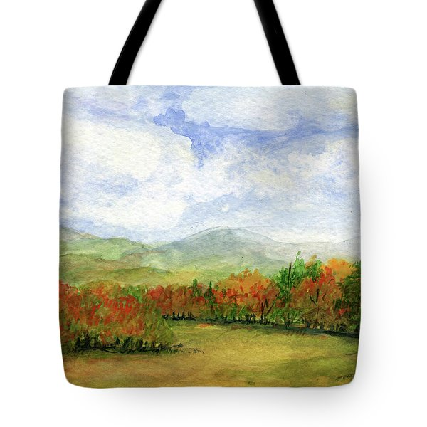 Autumn Day Watercolor Vermont Landscape Tote Bag