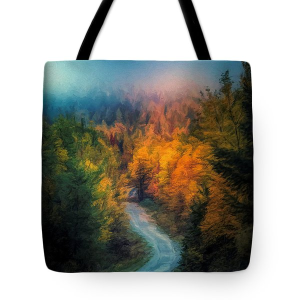 Autumn Drive In Rural Maine Tote Bag