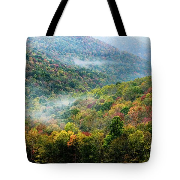 Autumn Hillsides With Mist Tote Bag