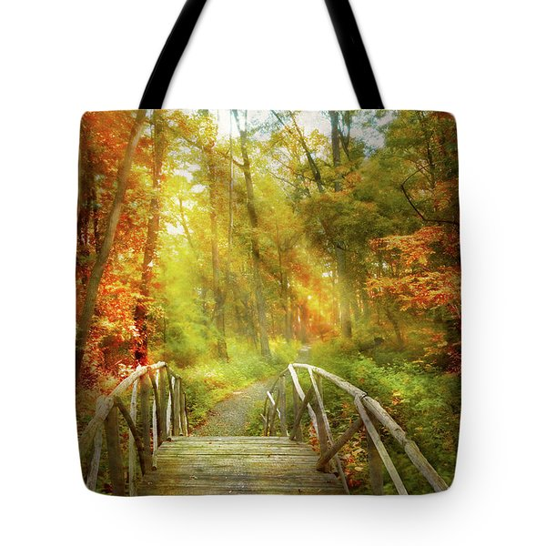 Tote Bag featuring the photograph Autumn - Nice Day For A Walk by Mike Savad