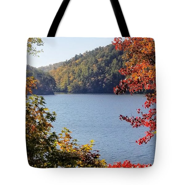 Tote Bag featuring the photograph Autumn On The Lake by Rachel Hannah