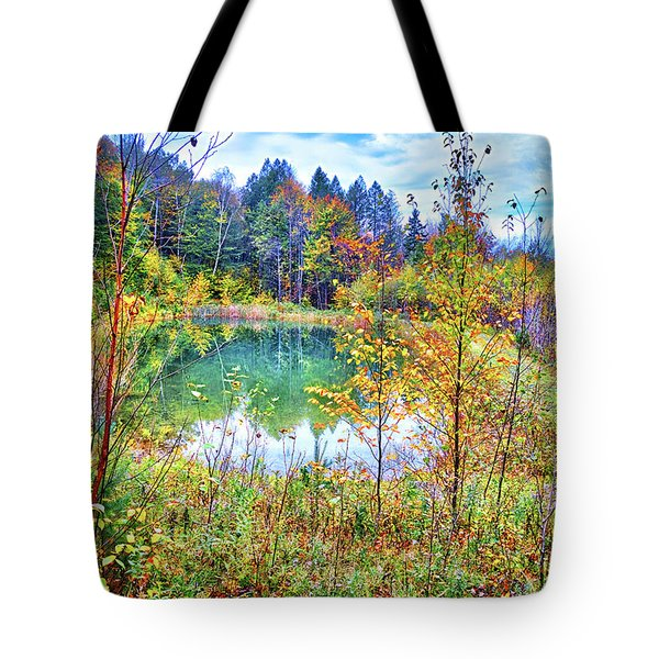 Tote Bag featuring the photograph Autumn Reflections At The Pond by Lynn Bauer