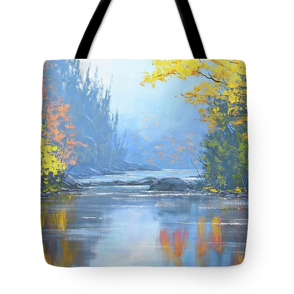 Autumn River Trees Tote Bag