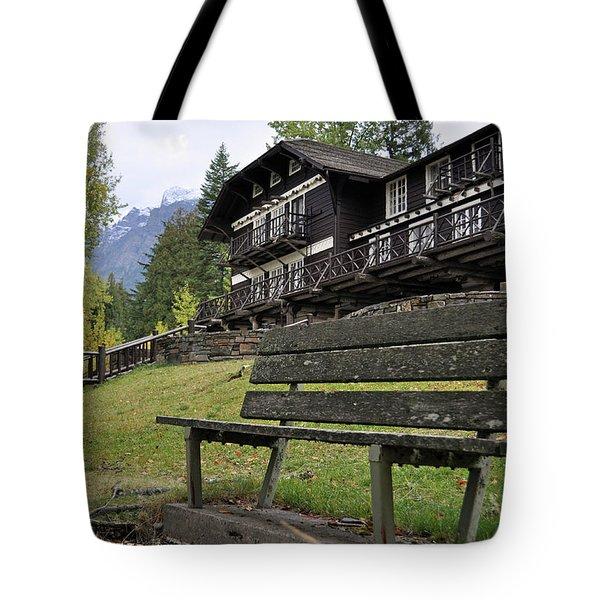 Autumn Silence At Lake Mcdonald Lodge In Glacier National Park Tote Bag
