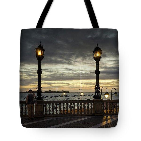 Tote Bag featuring the photograph Autumn Sky La Caleta Cadiz Spain by Pablo Avanzini