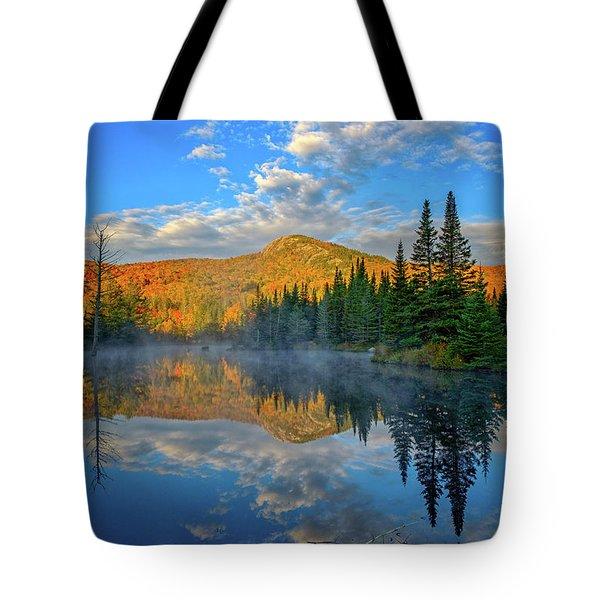 Autumn Sky, Mountain Pond Tote Bag