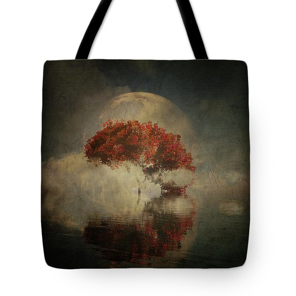 Tote Bag featuring the digital art Autumn Tree In The Mist by Jan Keteleer