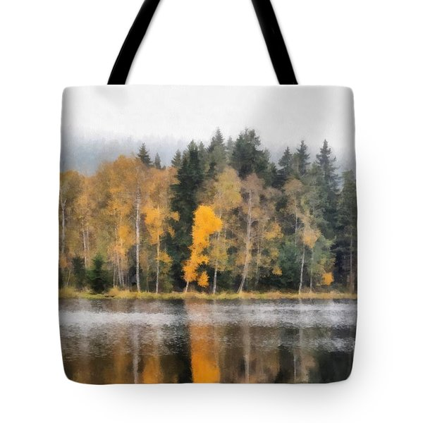 Autumn Trees On The Bank Of Lake Tote Bag