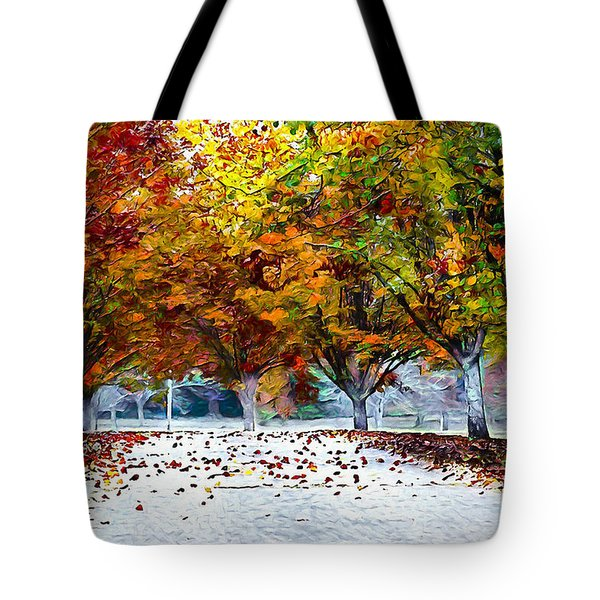 Tote Bag featuring the digital art Autumn Trees by Pennie McCracken
