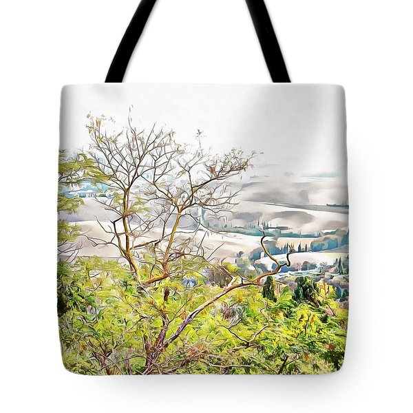 Tote Bag featuring the photograph Autumn View Pienza by Dorothy Berry-Lound