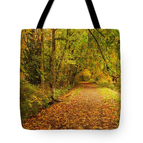 Tote Bag featuring the photograph Autumn Walk by Bob Cournoyer