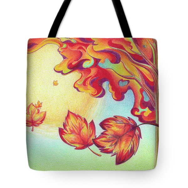 Autumn Wind And Leaves Tote Bag