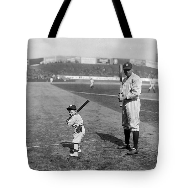 Babe Ruth And The Team Mascot Tote Bag