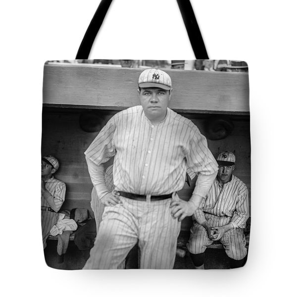 Babe Ruth With The Yankees Tote Bag