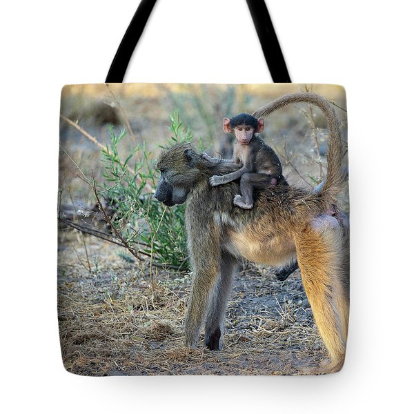 Baboon And Baby Tote Bag