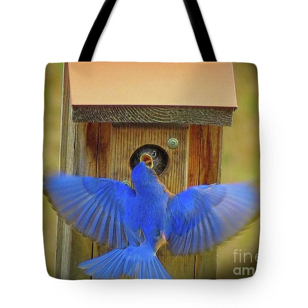 Baby Bluebird Feeding Time Tote Bag