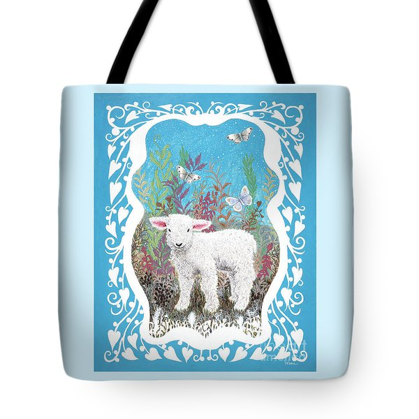 Baby Lamb With White Butterflies Tote Bag