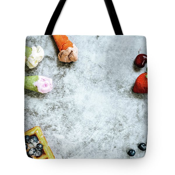 Background Of Tasty And Sweet Foods With Red Fruits And Waffles, Tote Bag