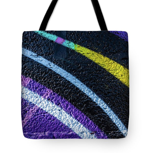 Background With Wall Texture Painted With Colorful Lines. Tote Bag