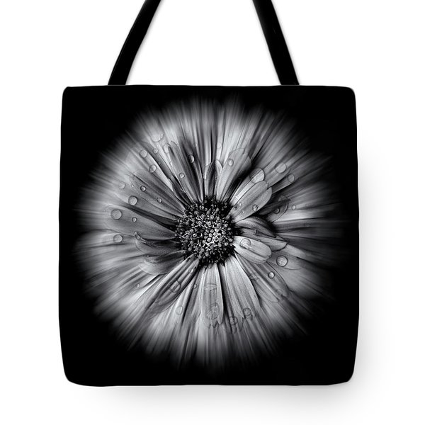 Backyard Flowers In Black And White 10 Flow Version Tote Bag