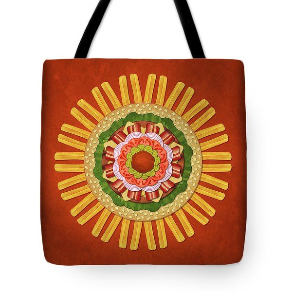 Bacon Cheeseburger With Fries Mandala Tote Bag
