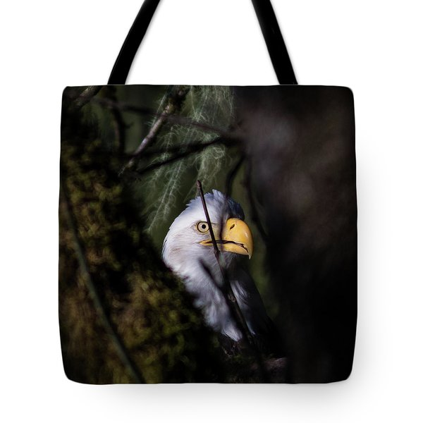 Bald Eagle Behind Tree Tote Bag