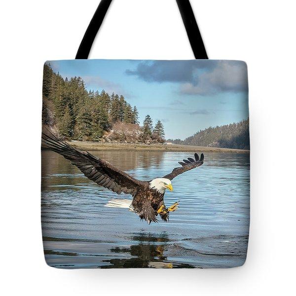 Bald Eagle Fishing In Sadie Cove Tote Bag
