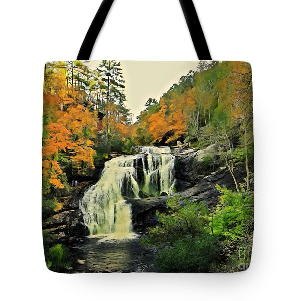 Tote Bag featuring the photograph Bald River Falls In Autumn  by Rachel Hannah