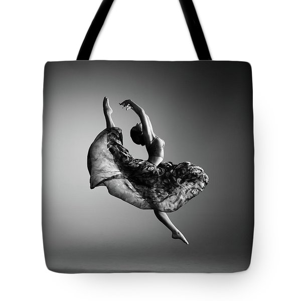 Ballerina Jumping Tote Bag