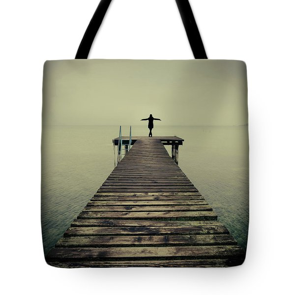 Ballerina Pose At Idyllic Lake At Winter Tote Bag