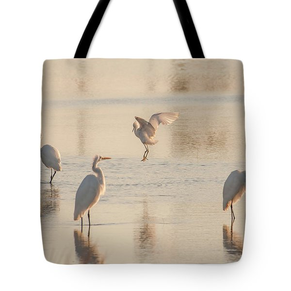 Ballet Of The Egrets Tote Bag