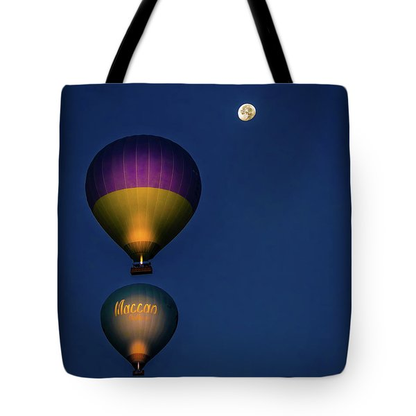 Tote Bag featuring the photograph Balloons And The Moon by Francisco Gomez