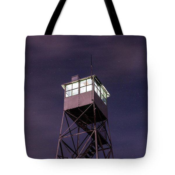 Tote Bag featuring the photograph Balsam Lake Mountain Firetower  by Brad Wenskoski