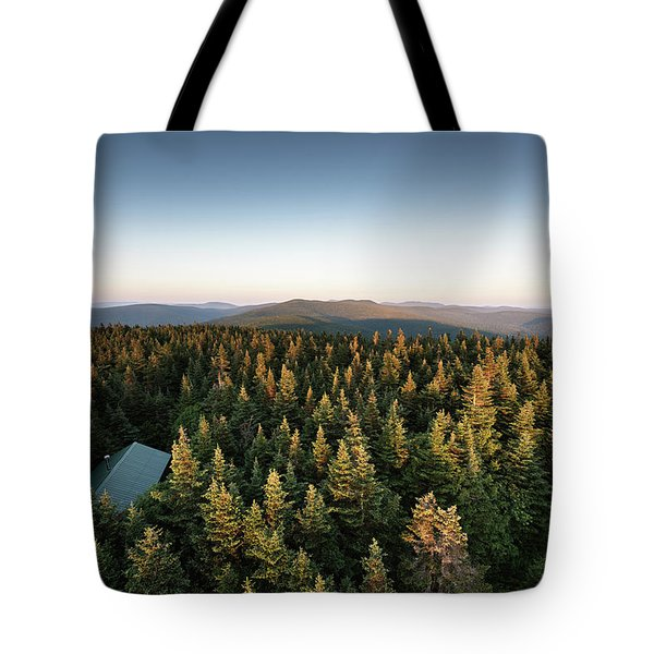 Tote Bag featuring the photograph Balsam Lake Mountain Sunset Moon by Brad Wenskoski