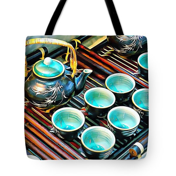 Tote Bag featuring the photograph Bamboo Handle Teapot And Cups by Dorothy Berry-Lound