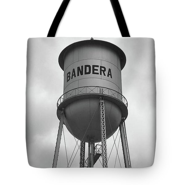 Tote Bag featuring the photograph Bandera Water Tower In Texas by Art Block Collections