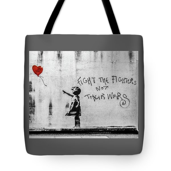 Banksy Balloon Girl Fight The Fighters Tote Bag