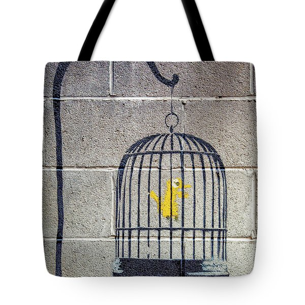 Tote Bag featuring the photograph Banksy Bird Cage Detroit by Gigi Ebert