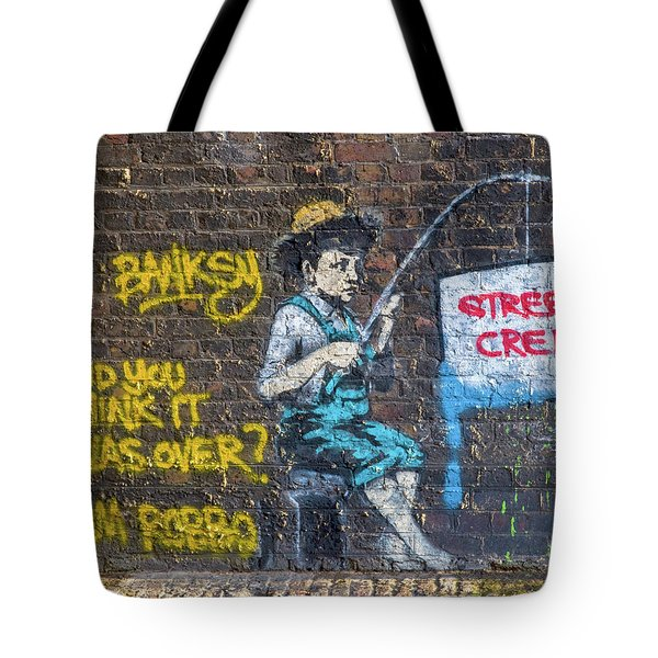 Banksy Boy Fishing Street Cred Tote Bag